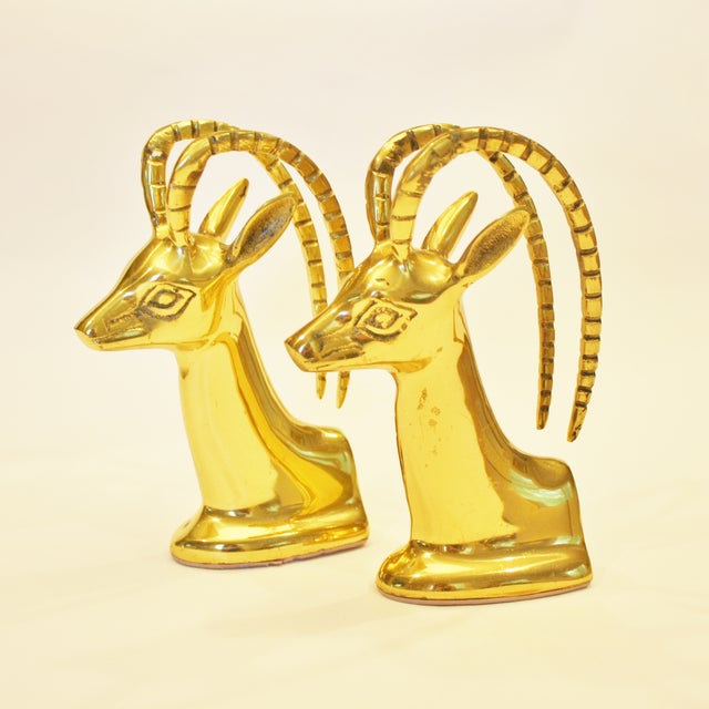 Vintage Brass Ibex Bookends - Pair - Image 4 of 4