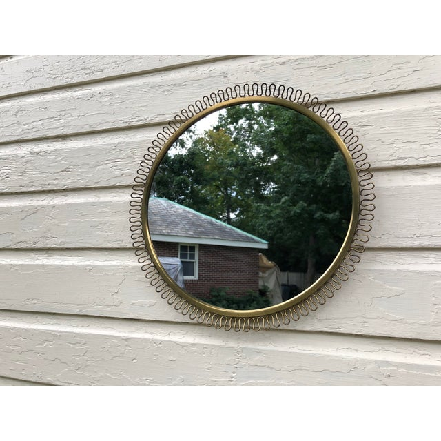 Italian Gio Ponti Inspired Round Brass Mirror For Sale - Image 11 of 11