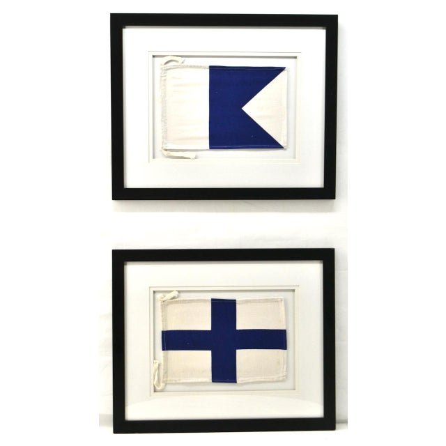 "Framed Signal Flags Letters ""A"" & ""X"" - a Pair For Sale - Image 4 of 4"