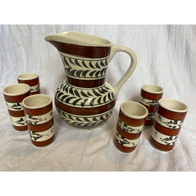 Vintage Mid-Century Hand Painted Sangria Pitcher Set - 7 Pieces For Sale In Jacksonville, FL - Image 6 of 6