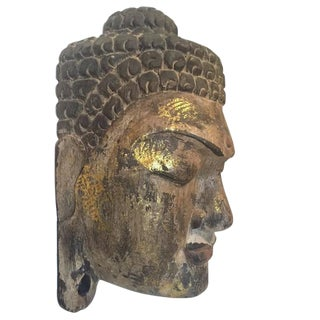 Vintage Wood Carved Buddha Head Indonesian Wall Mask - 14 inch