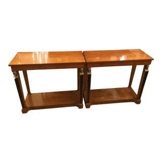 Pair of Empire Style Bronze Mounted Designer Console End Tables For Sale