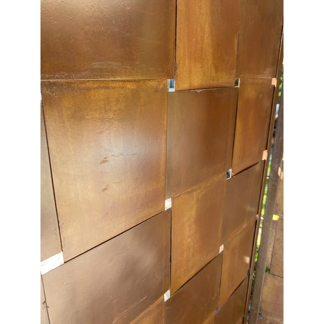 Metal Woven Metal Folding Room Divider Screen 3-Panel For Sale - Image 7 of 11