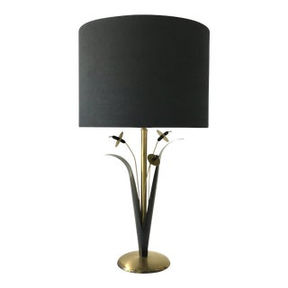 Single Patinated Metal Sculptural Reed Table Lamp 1970s For Sale