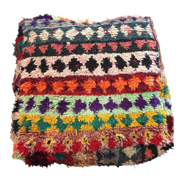 Multi Color Moroccan Floor Pouf - Image 1 of 4