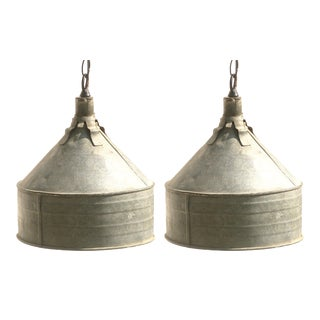 Funky Farmhouse Chic Funnel Lights - a Pair For Sale