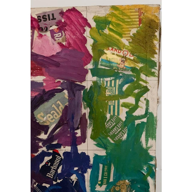 Abstract Mid Century Painting, Collage - Labels For Sale - Image 3 of 10