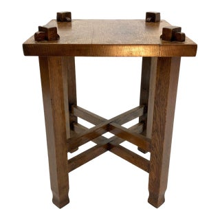 Arts & Crafts Mission Oak Pegged Side Table For Sale