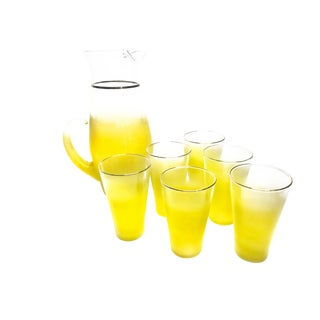 Vintage Mid Century Frosted Ombre Yellow Gold Rimmed Pitcher & Glasses - Set of 7