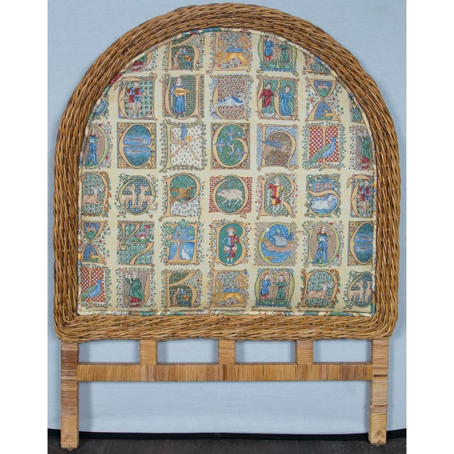1970s Pair of Arched Wicker/Rattan Twin Size Headboards For Sale - Image 5 of 13