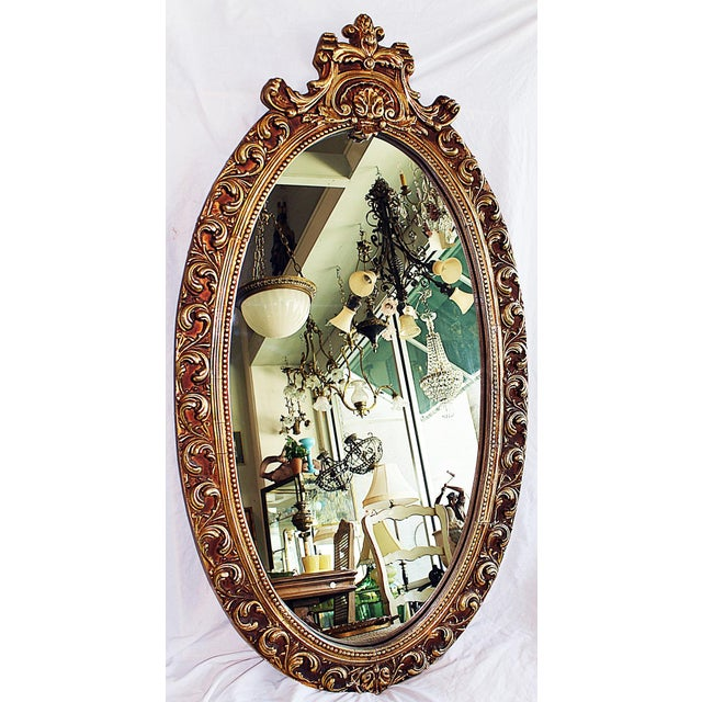 Oval Baroque Gilt Gold Mirror For Sale In West Palm - Image 6 of 7