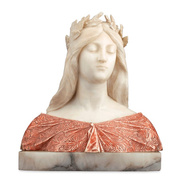 Pink Alabaster and Onyx Bust by G. Gambrogi For Sale - Image 8 of 8