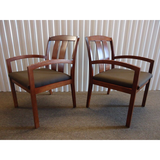 Kimball Dining Arm Chairs With Brown Fabric - Set of 4 For Sale - Image 9 of 13