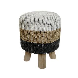 Black & White Dip Seagrass Stool For Sale