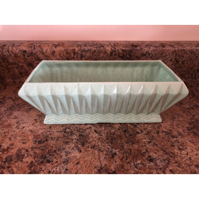 Final Price! Vintage Light Green Brush Usa Pottery Planter For Sale - Image 10 of 10