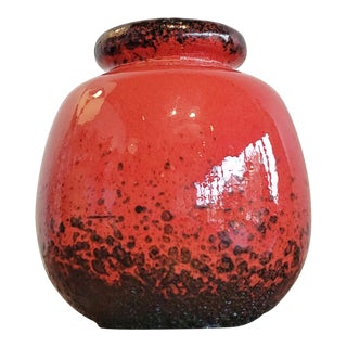 Scheurich Red and Black 'Ceramos' Ball Vase Nr. 284/19 For Sale