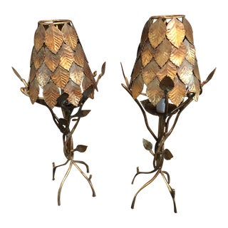 Late 20th Century Designer Gold Twig With Leaf Shade Lamps - a Pair For Sale