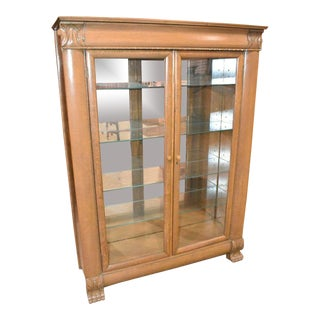 Vintage Oak Lighted Bookcase For Sale
