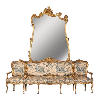 "19th Century German Sofa and Mirror or ""Canape De L'amitie"" in Louis XV Style"