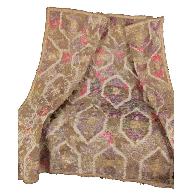 French Antique Embroidered Damask Fabric For Sale - Image 3 of 6