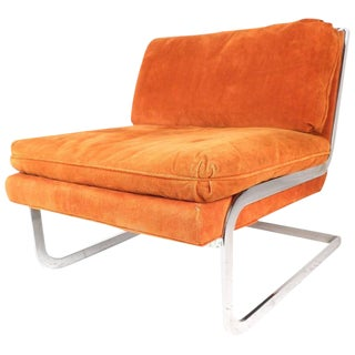 Milo Baughman Style Mid-Century Cantilever Slipper Chair For Sale