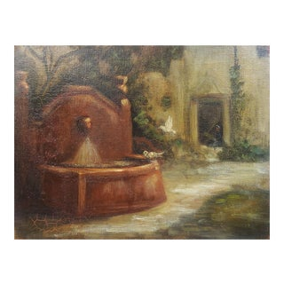 Courtyard Fountain & Birds Painting For Sale