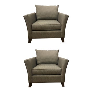 Thomasville Modern Chocolate Brown and White Club Chairs Pair For Sale