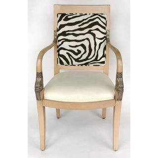 1980s Vintage Blond Wood & Zebra Print Upholstery & Dolphin Carved Armchairs- a Pair Preview