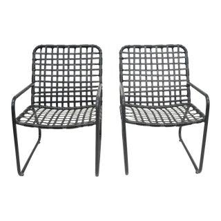Pair of Brown Jordan Lido Aluminum Vinyl Strap Patio Pool Lounge Chairs Black B