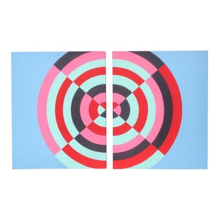 Colorful Abstract Hard Edge Op-Art Original Painting on Canvas by J. Marquis, a Pair For Sale