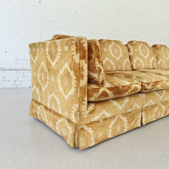 1970s 1970s Vintage Damask Two-Piece Velvet Sofa For Sale - Image 5 of 10