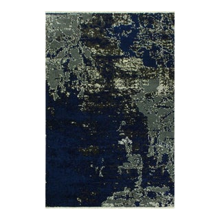 Abstract Modern Terisa Blue/Ivory Wool&Silk Rug - 4'2 X 6'5 For Sale