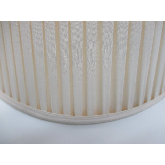 Late 20th Century Vintage Pair of Ecru Back Pleaded Silk Lampshades With Brass Fittings For Sale - Image 5 of 6