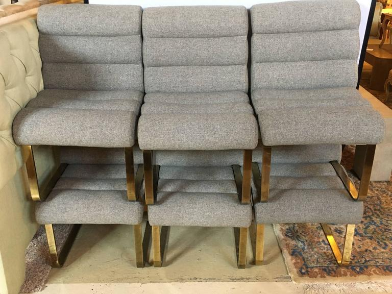 Hollywood Regency Brass Base Dining Chairs   Set Of 6   Image 4 Of 8