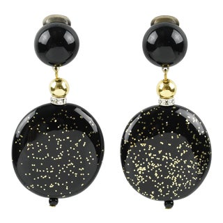 Angela Caputi Black Gold Flakes Dangle Resin Clip Earrings For Sale