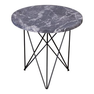 Black Marble Side Table With Hairpin Legs For Sale