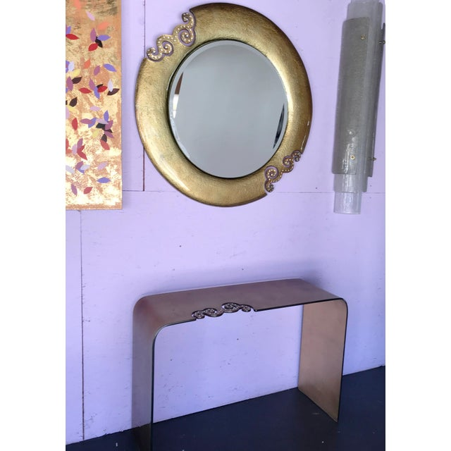 Metal Italian Gold Glass Mirror With Swarovski Strass Crystals For Sale - Image 7 of 8