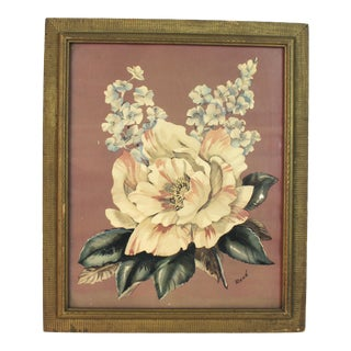 1950s Mid Century Floral Painting. Original Signed Painting For Sale