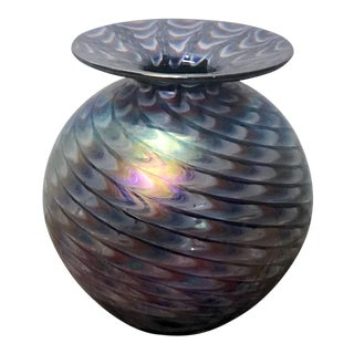 California Iridescent Art Glass Vase For Sale