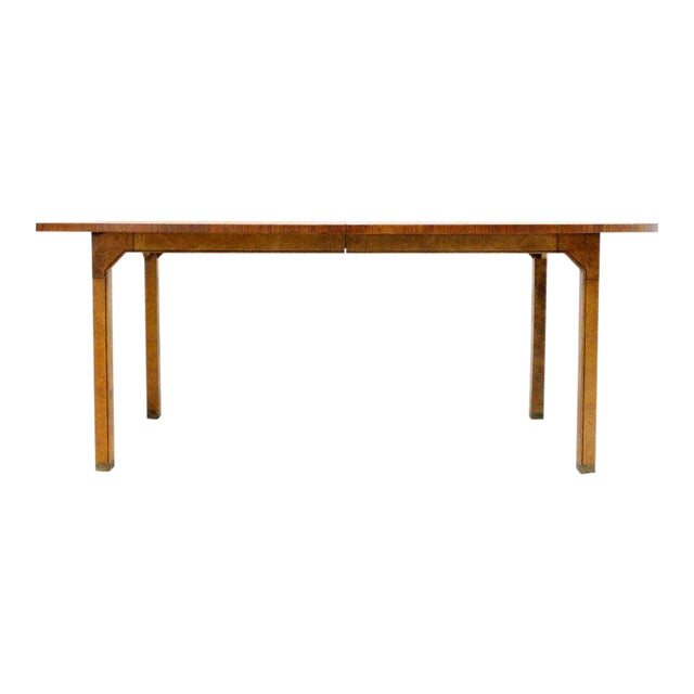 Oval Boat Shape Banded Burl Wood Dining Table With 2 Leaves Extensions For Sale