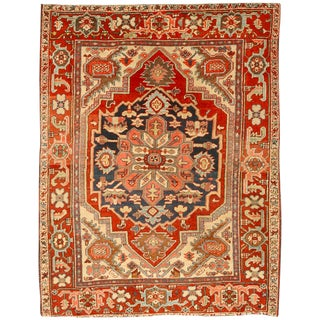 Antique Late 19th Century Persian Serapi Rug For Sale