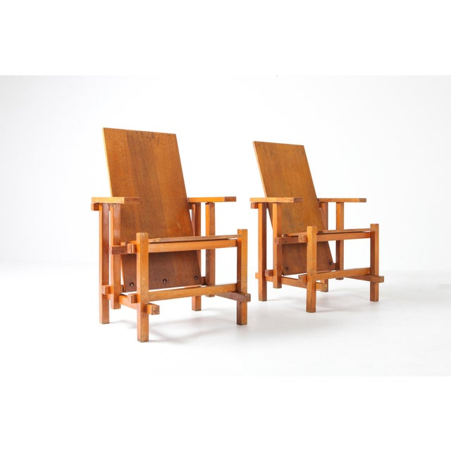 Modernist Armchairs Attributed to Gerrit Rietveld For Sale - Image 9 of 10
