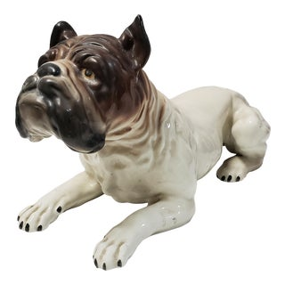 Lifesize Ceramic Italian Bulldog Scuilpture For Sale