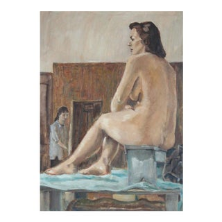 """""""Figure Nude Model"""" Oil Painting on Canvas, 1957 For Sale"""