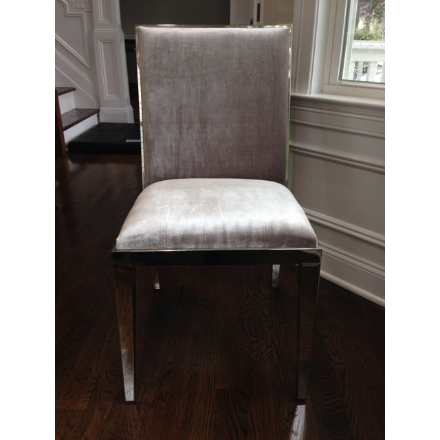 Contemporary Modern Velvet Dining Chairs - Set of 6 For Sale - Image 3 of 5