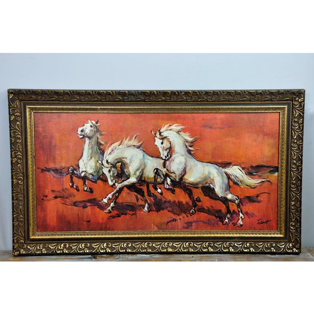 Vintage Retro 70s Baroque Framed Boots Print Horses on Red by H Faust For Sale - Image 13 of 13