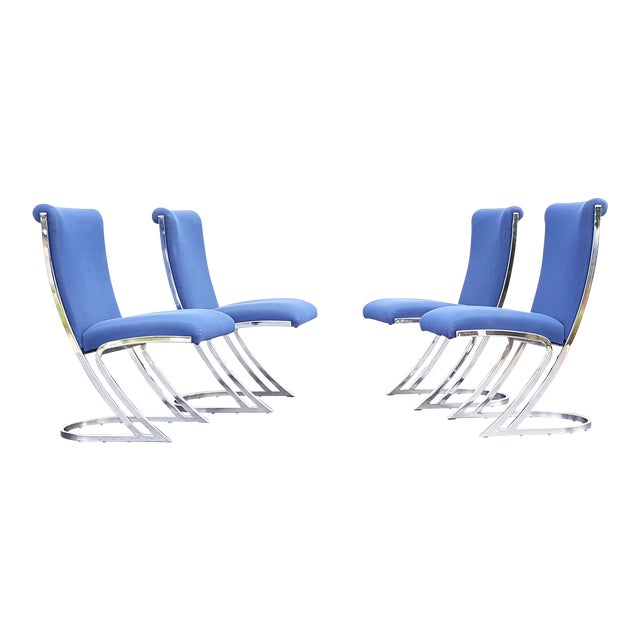 Mid-Century Pierre Cardin Z-Back Chrome Cantilever Dining Chairs - Set of 4 For Sale