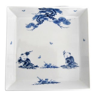 Mikawachi Hirado Blue and White Porcelain Square Dish Platter With Children Playing For Sale