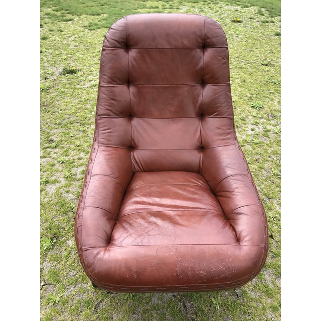 Brown Rare Jean Gillon Rosewood Leather Lounge Chair Ottoman Probel Brazilian For Sale - Image 8 of 11