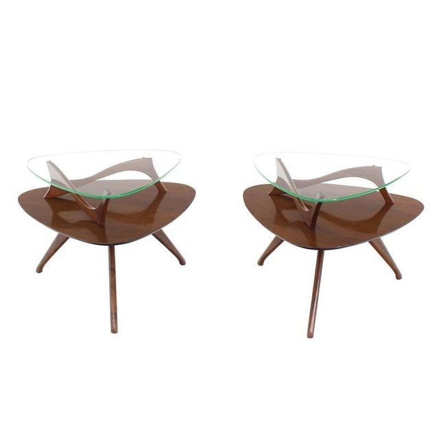 Pair of Round Triangular Tri Legged Two Tier Side End Tables For Sale - Image 9 of 10
